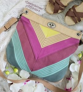 Vintage Fossil Colorful Canvas Crossbody Bag